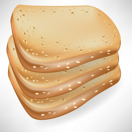 french bread: three slices of bread isolated