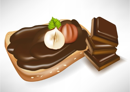 paste: chocolate cream on toast with hazelnuts and chocolate pieces Illustration
