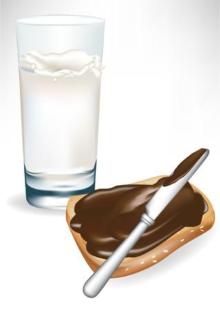 hazelnut: milk and toast isolated on white