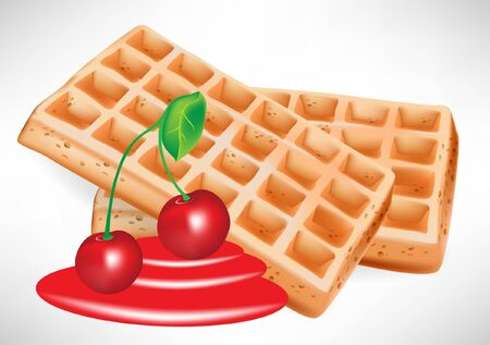 cherry syrup and belgian waffles with fruit Stock Vector - 10886938
