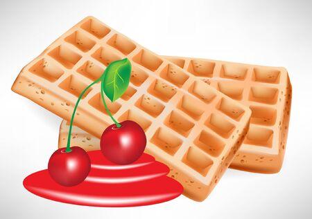 waffles: jarabe de cereza y gofres belgas con frutas