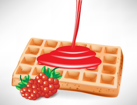 belgian waffle: pouring berry syrup over belgian waffle Illustration
