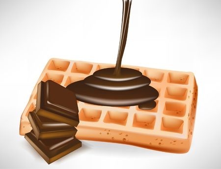 syrup: pouring chocolate over belgian waffle