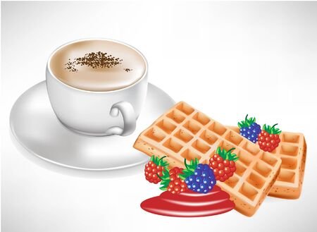 coffee berry: coffee cup with waffles with berry Illustration
