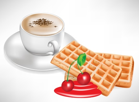 coffee cup and cherry waffles Vector