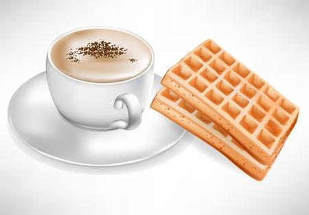 waffles: taza de café con waffles aislados Vectores