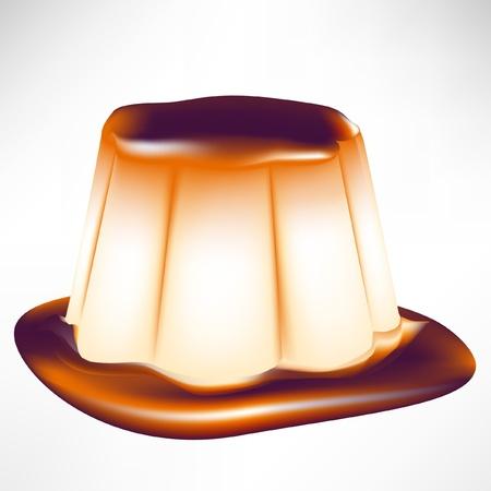 simple caramel custard isolated on white Vector
