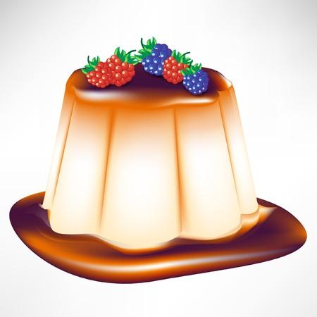 flan: caramel berry custard isolated on white