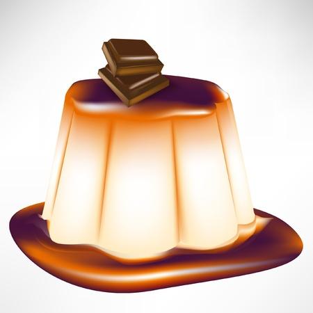 custard: caramel chocolate custard isolated on white