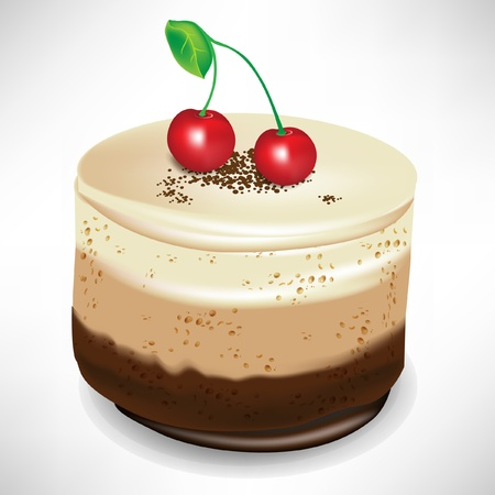 chocolate mousse cake with cherry isolated Illustration