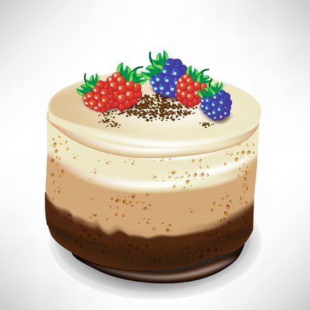 chocolate mousse: chocolate mousse cake with berry isolated