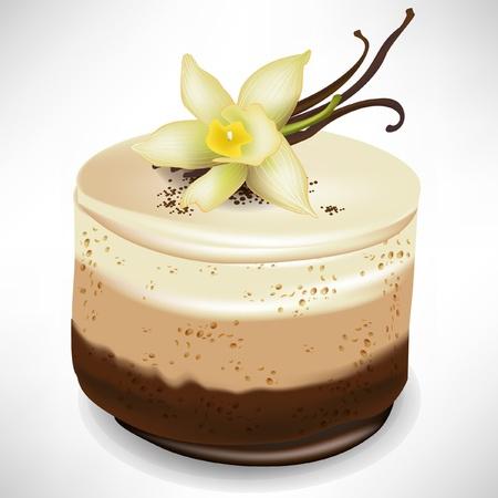 mus czekoladowy tort z wanilii izolowanych