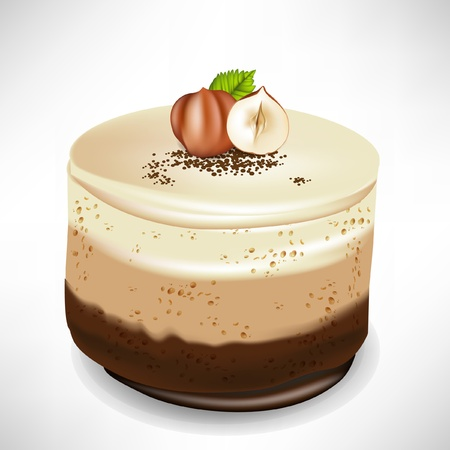 chocolate mousse cake with hazelnuts isolated