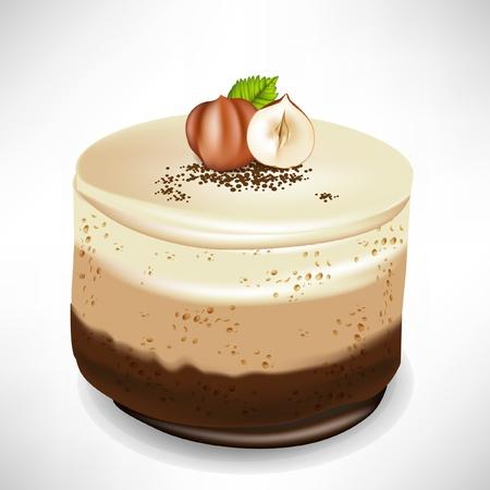 chocolate mousse: chocolate mousse cake with hazelnuts isolated