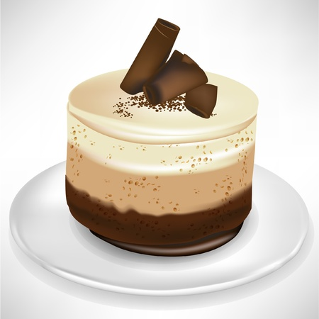 mousse: simple chocolate mousse cake on plate isolated