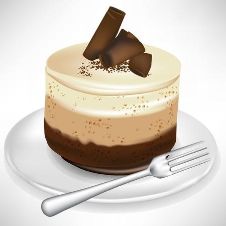Schokoladen-Mousse-Kuchen auf Teller mit Gabel isoliert Standard-Bild - 10886903