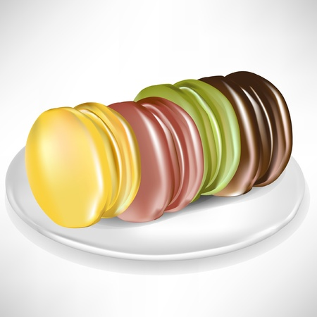 pistachio: pile of colorful macaroons on porcelain plate