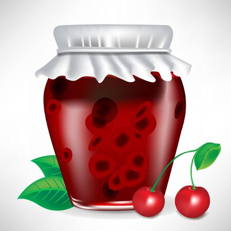 jar of cherry jam with fruit isolated Stock Vector - 10886747