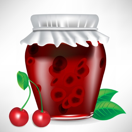 canning: jar of cherry jam with fruit isolated Illustration