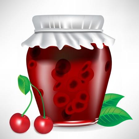 jar of cherry jam with fruit isolated Ilustração