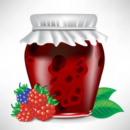 berry jar of jam with fruit on the side isolated Ilustração