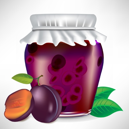 canning: plums jar of jam with fruit on the side isolated