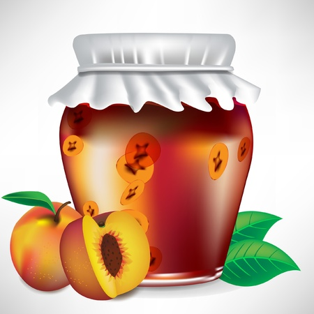 peach jar of jam with fruit on the side, isolated Banco de Imagens - 10886823