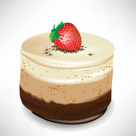 custard: chocolate mousse cake with strawberry isolated on white