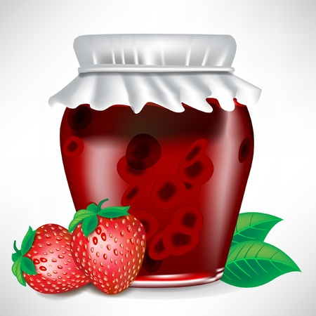 strawberry jar of jam with fruit on the side isolated