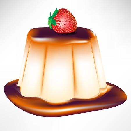 custard: caramel custard with strawberry isolated on white