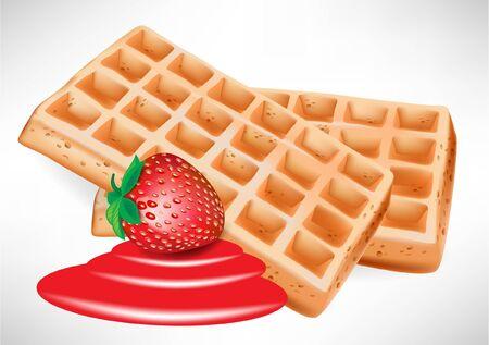 Belgische wafels met aardbeien op wit wordt geïsoleerd
