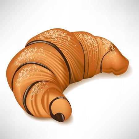 bułka maślana: proste rogalik z czekoladÄ… na biaÅ'ym Ilustracja