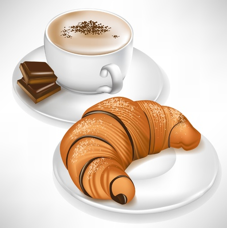 pasteleria francesa: croissant en el plato y la taza de caf� con trozos de chocolate Vectores
