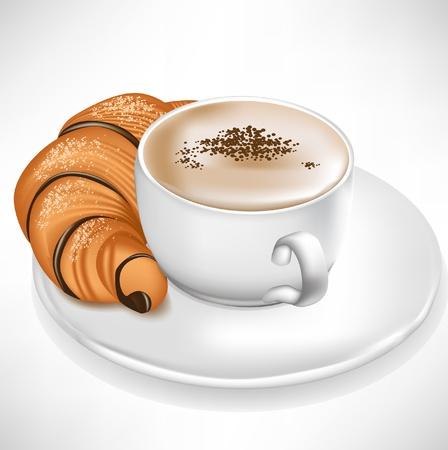 bułka maślana: croissant podawane z filiżanka kawy wyizolowanych