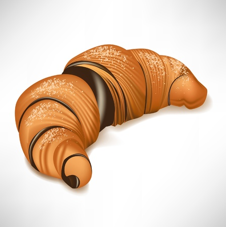 puff: croissant with chocolate cream filling isolated on white Illustration