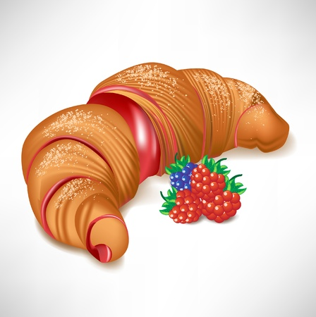puff pastry: croissant with berry cream filling isolated