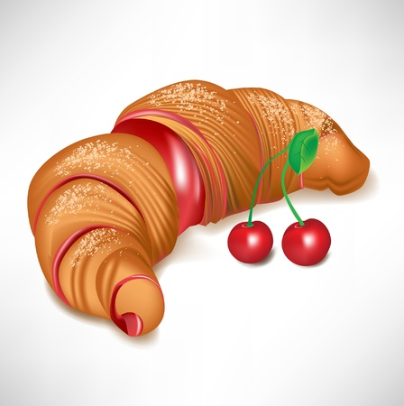 puff pastry: croissant with cherry cream filling isolated