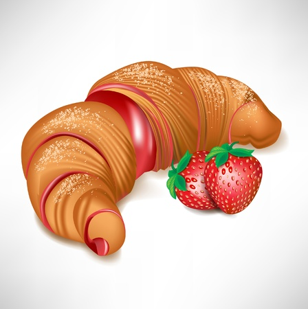 shortbread: croissant with strawberry cream filling isolated