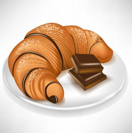 bułka maślana: rogalik z czekoladÄ… na talerzu kawaÅ'ki Ilustracja