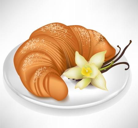 bułka maślana: rogalik z wanilią na talerzu porcelanowym