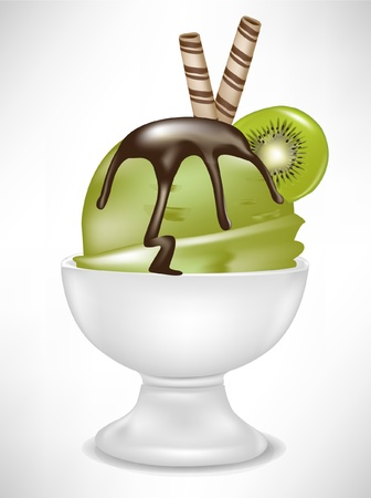 kiwi ice cream in bowl isolated