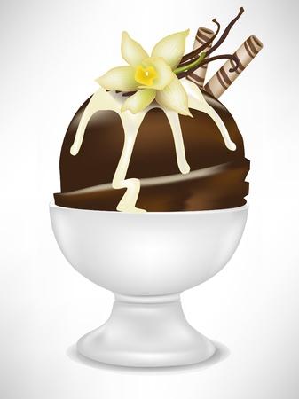 helados con palito: helado de chocolate con vainilla en un taz�n aislado Vectores