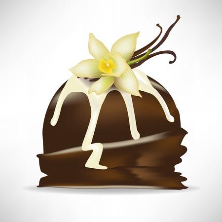 chocolate con bola de helado de vainilla aisladas