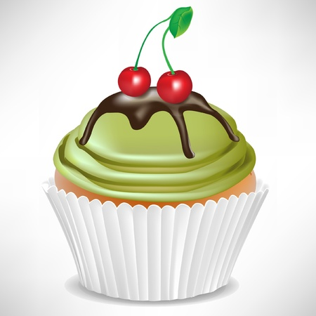 home baked: cherry and kiwi cup cake isolated on white Illustration