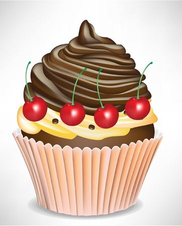 home baked: cherry and chocolate cup cake isolated Illustration