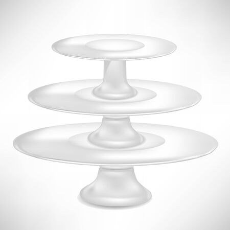 empty porcelaincake stand isolated on white Vector
