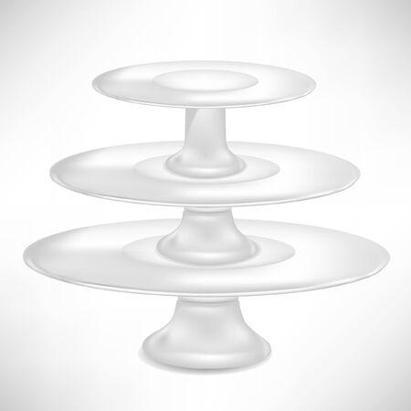 empty porcelaincake stand isolated on white Illustration