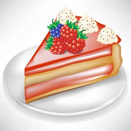 Stück Kuchen mit Beeren isoliert auf weiß Vektorgrafik