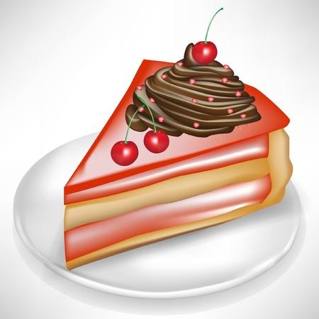 Stück Kuchen mit Kirschen isoliert auf weiß Vektorgrafik
