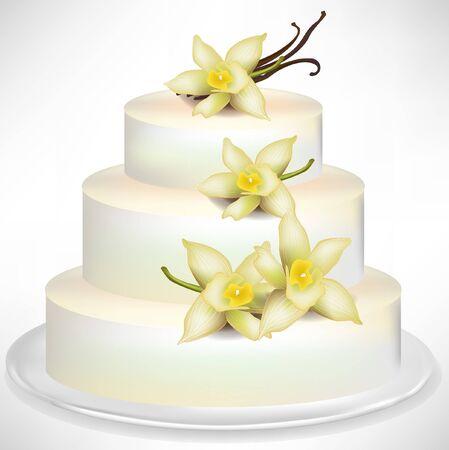 vanilla cake: elegant vanilla cake isolated on white